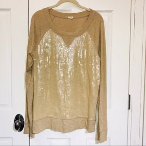 J. CREW Sequin Front Long Sleeve Knit Tee Shirt